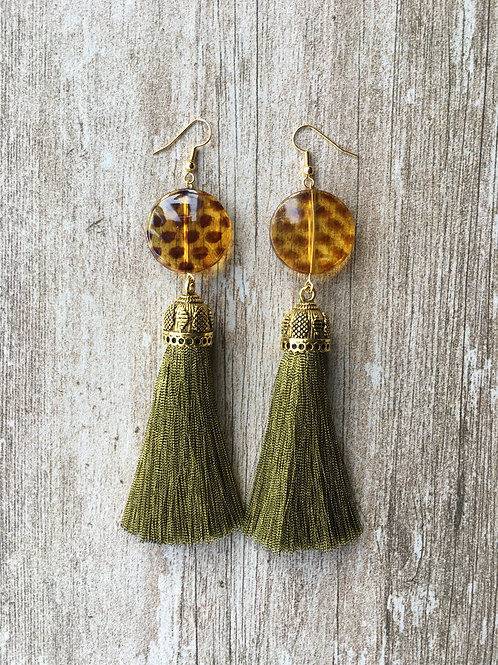 Large tassel earrings with leopard print bead - old gold