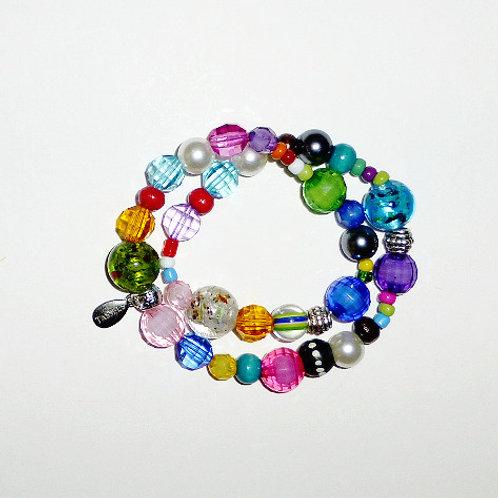 multi colour bead double wrap bracelet