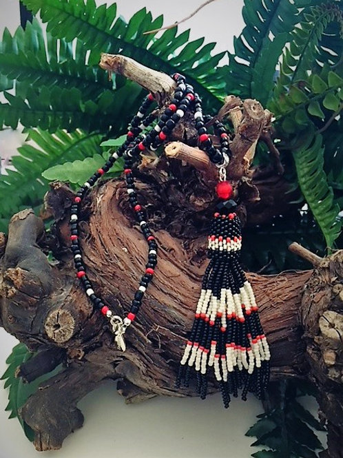 black, red & white seed bead tassel necklace
