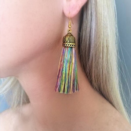 Medium chunky silk tassel earrings - multi
