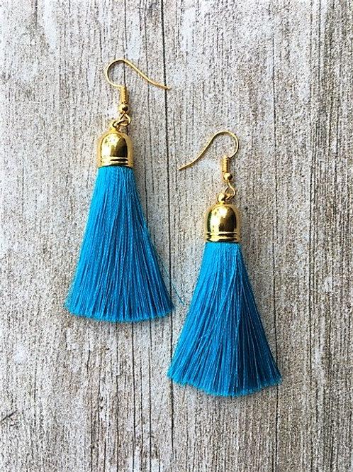Classic silk tassel earrings - turquoise