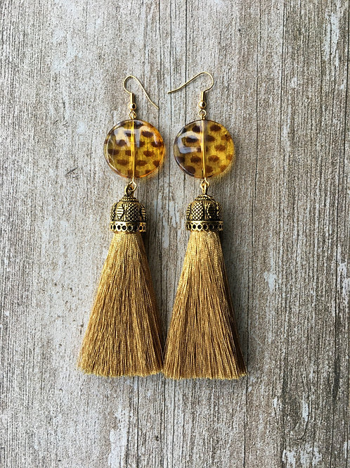 Large tassel earrings with leopard print bead - gold