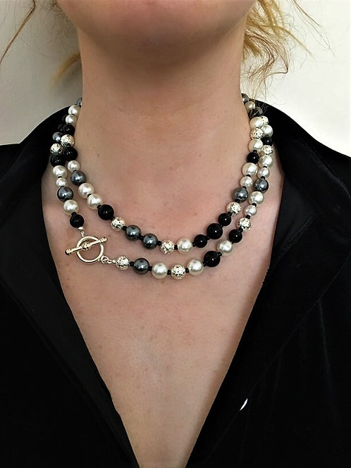pearl and lava stone necklace