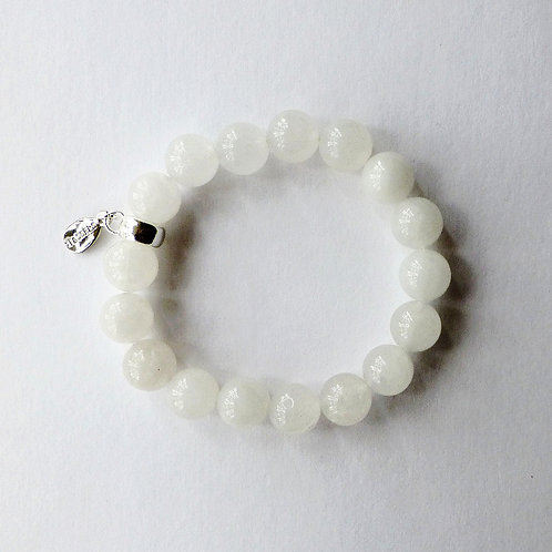 ivory jade bead bracelet with charm tassel carrier