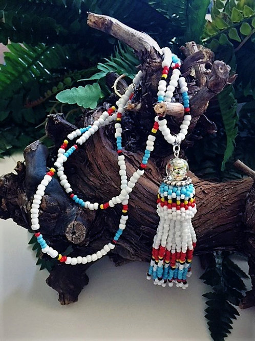 white, turquoise and red beaded tassel necklace