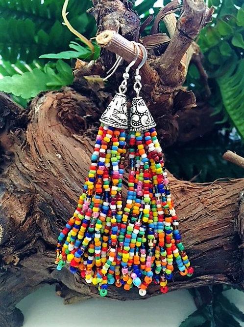 Multi coloured chunky long bead tassel earrings