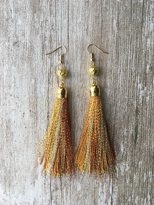 Over The Top shimmery tassel earrings - gold