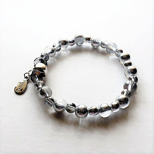 silver plated glass bead bracelet with tassel carrier
