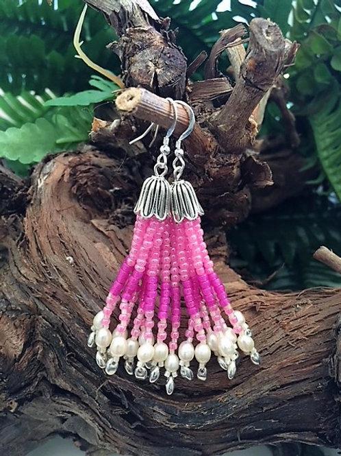 pink bead tassel earrings with freshwater pearls