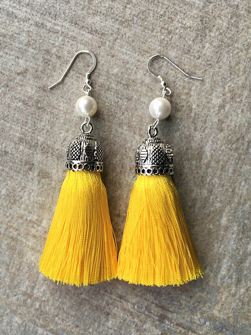 Chunky silky tassel earrings with pearls - yellow