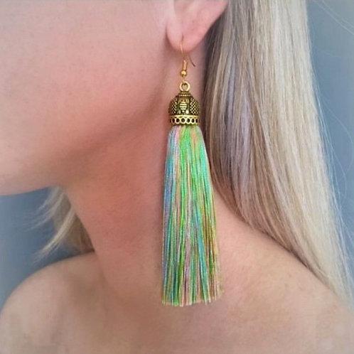 Extra large chunky silk tassel earrings - multi pastels