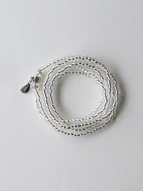 wrap seed bead bracelet/necklace - silver lined clear beads