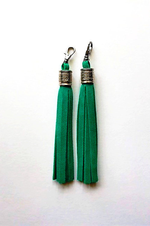 Boot tassels - emerald green suede with silver collar