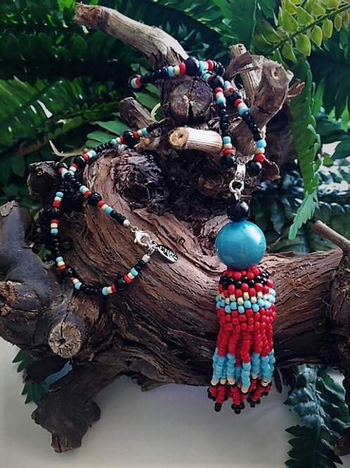 red and turquoise beaded tassel necklace