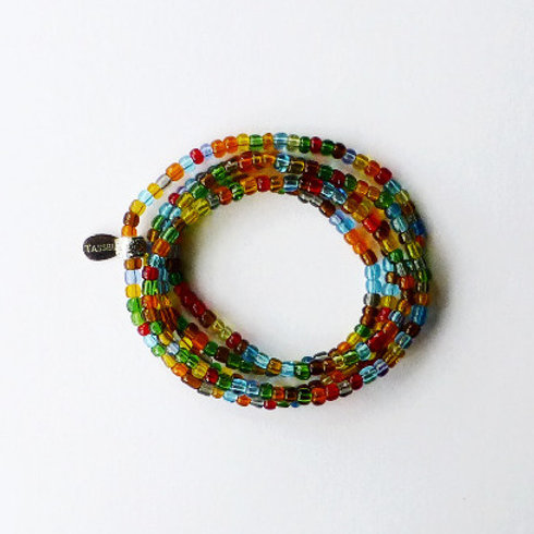 wrap seed bead bracelet/necklace - multi colour transparent