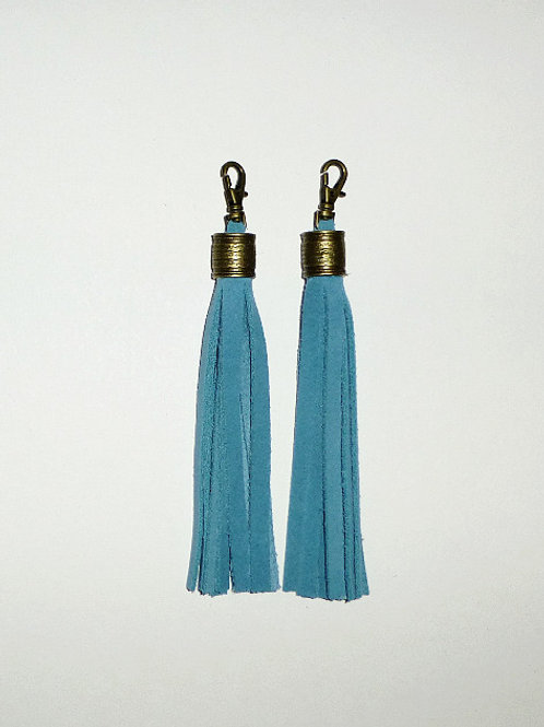 Boot tassels - baby blue suede with antique brass collar