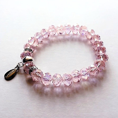 pale pink glass bead bracelet with tassel carrier
