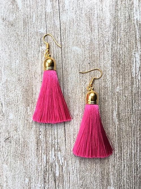 Classic silk tassel earrings - fushia