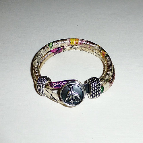 Sandy beaches tropical design leather snap bracelet - only one left