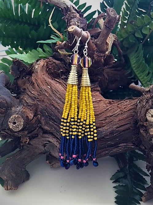 yellow and blue long bead tassel earrings
