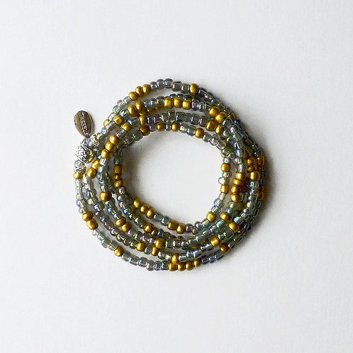 wrap seed bead bracelet/necklace - clear rainbow irridescent and gold beads