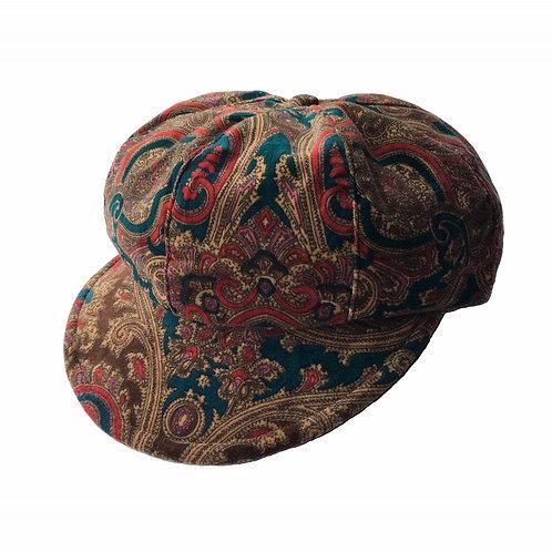 Paisley velvet baker boy hat