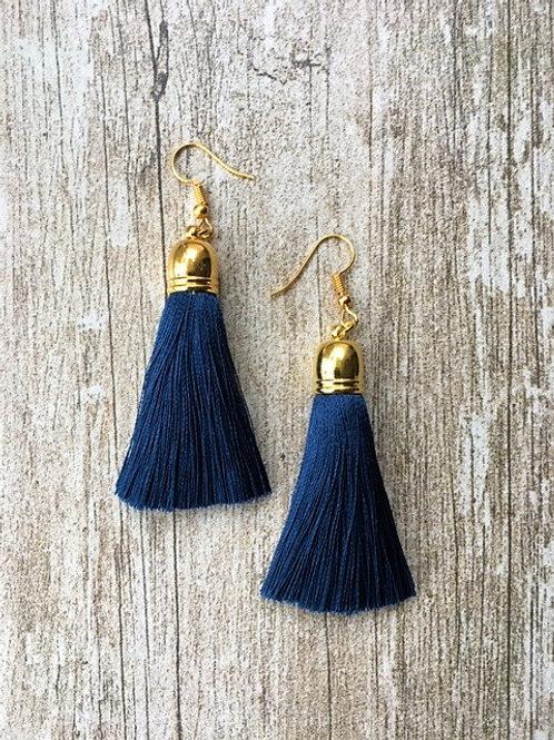 Classic silk tassel earrings - navy