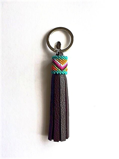 dark brown leather keyring tassel with beaded top