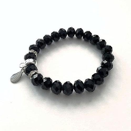 black faceted glass bead bracelet with tassel carrier