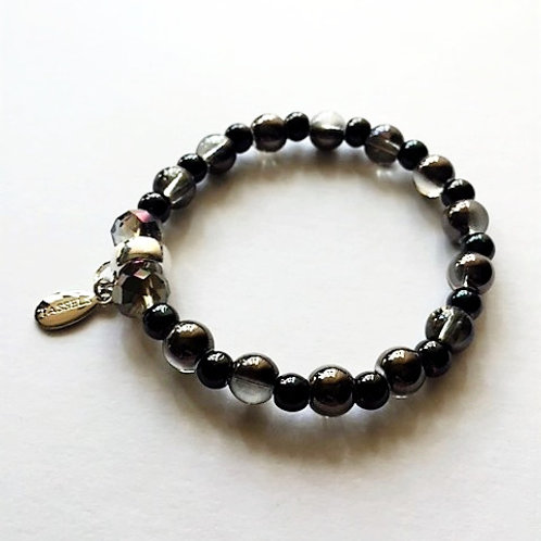 graphite and black glass bead bracelet with tassel carrier