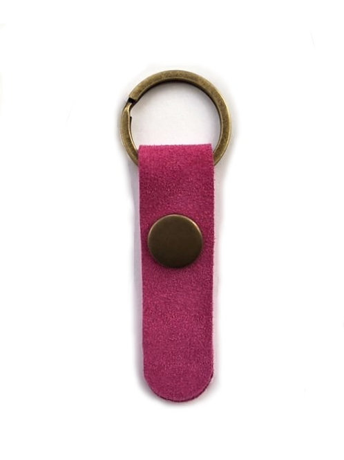 suede leather key fob/fushia - 10 options