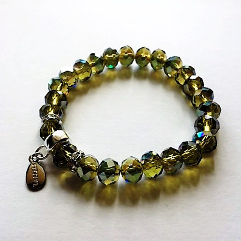 olive green faceted glass bead bracelet with tassel carrier