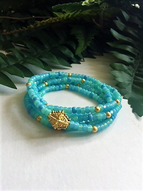wrap seed bead bracelet/necklace - turquoise with gold
