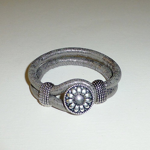 Platinum leather snap bracelet - 8 variations