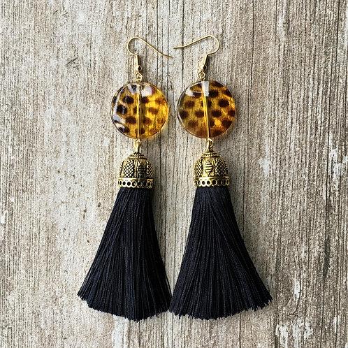 large tassel earrings with tortoishell leopard print bead