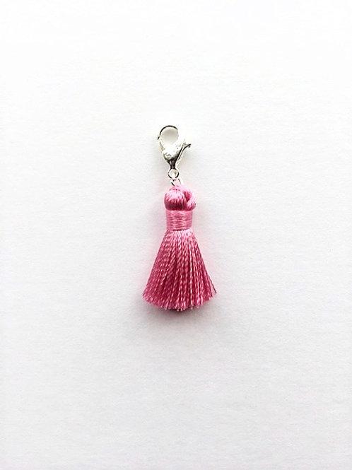 mini - pink silk tassel charm  - 20mm