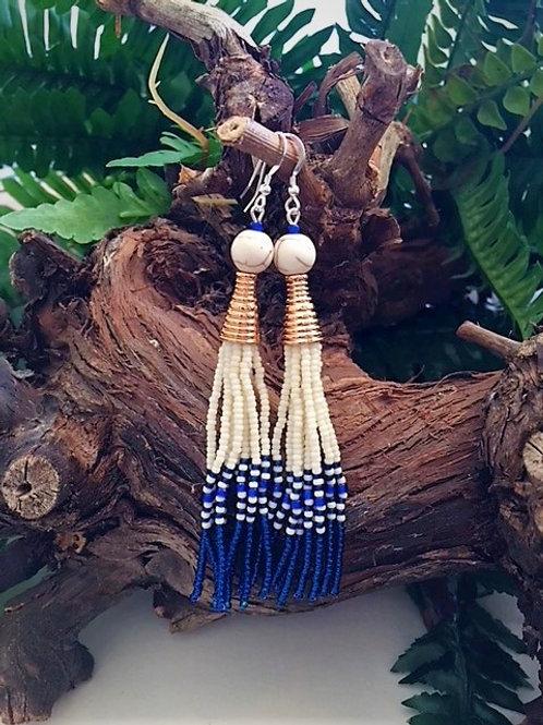 ivory and royal blue long bead tassel earrings