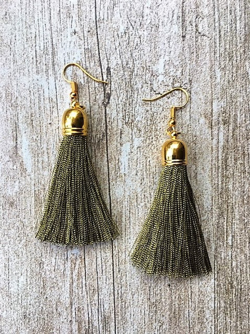 Classic tassel earrings - old gold
