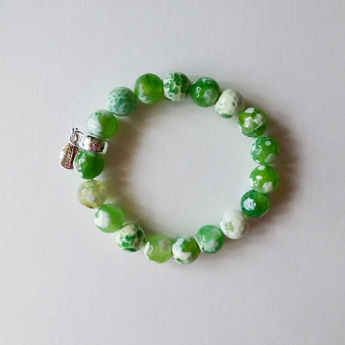 Green crab agate bead bracelet with charm tassel carrier