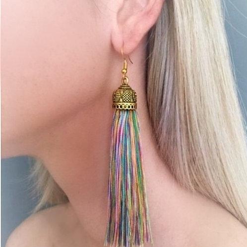 Extra large chunky silk tassel earrings - multi