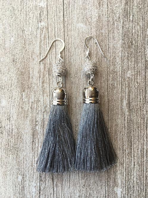 Silver tassel earrings with cubic zirconia beads