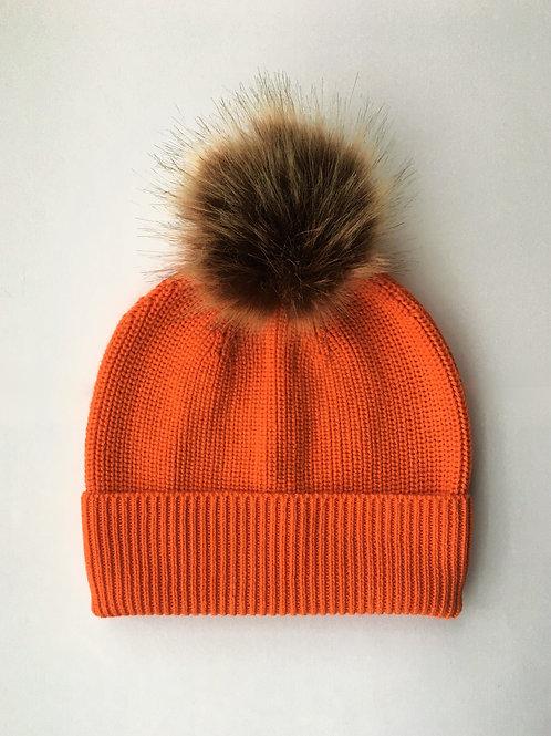 Cashmere blend rib knit beanie orange