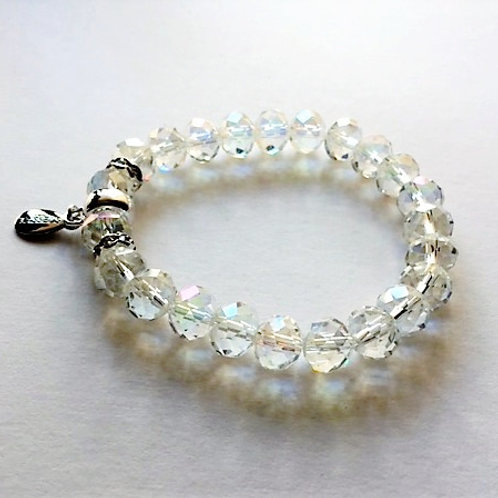 clear irridescent faceted glass bead bracelet with tassel carrier
