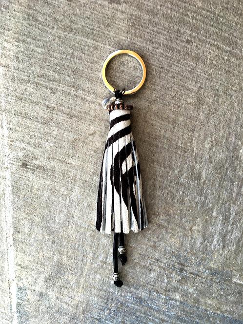 Zebra print hair on tassel - key ring