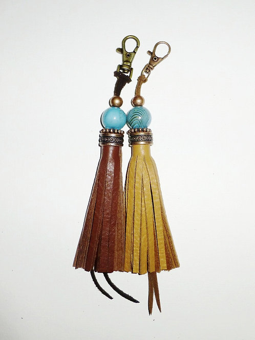 leather tassel with large turquoise glass bead with clip - 2 colour variations