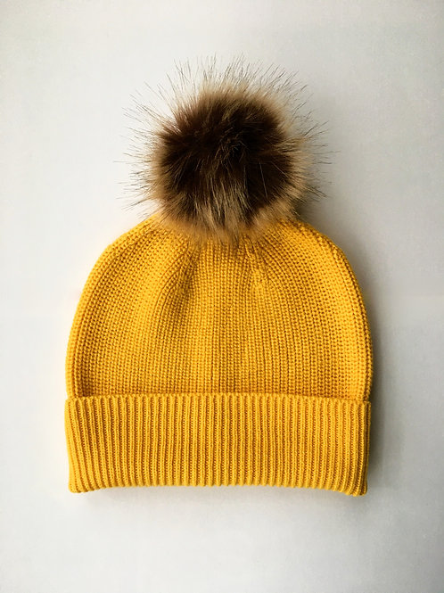 Cashmere blend rib knit beanie yellow