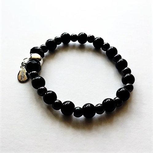 Black glass bead bracelet with tassel carrier