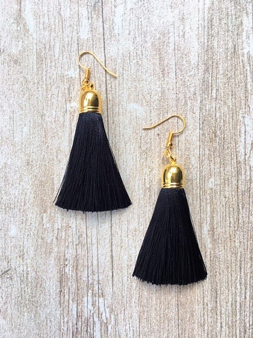 Classic silk tassel earrings - black
