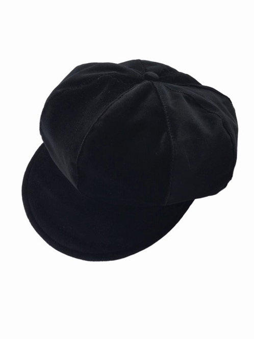 Black velvet baker boy hat