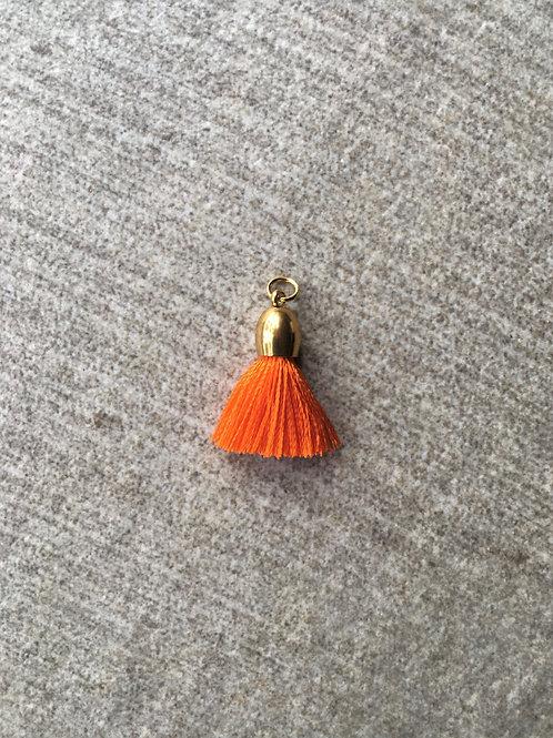 Huggie silk charm tassel - orange